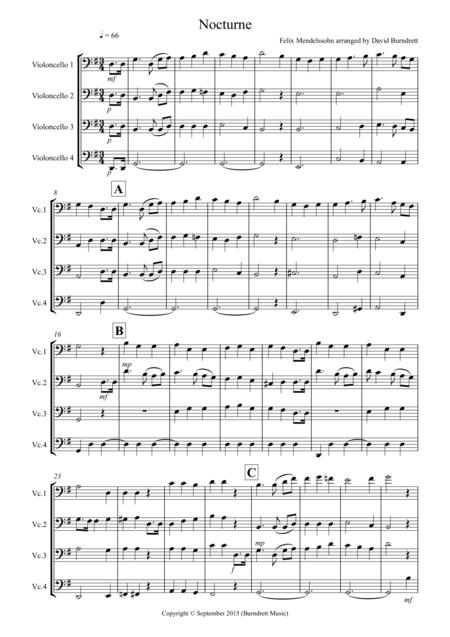 Nocturne from (A Midsummer Night's Dream) for Cello Quartet