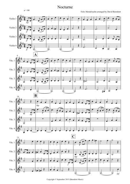 Nocturne from (A Midsummer Night's Dream) for Violin Quartet