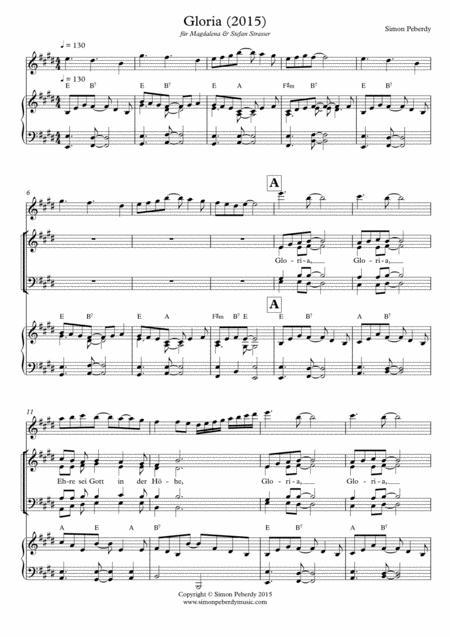 Gloria in E (2015) (rhythmical, in German) for SATB & piano & flute (optional) by Simon Peberdy
