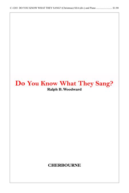 Do You Know What They Sang?