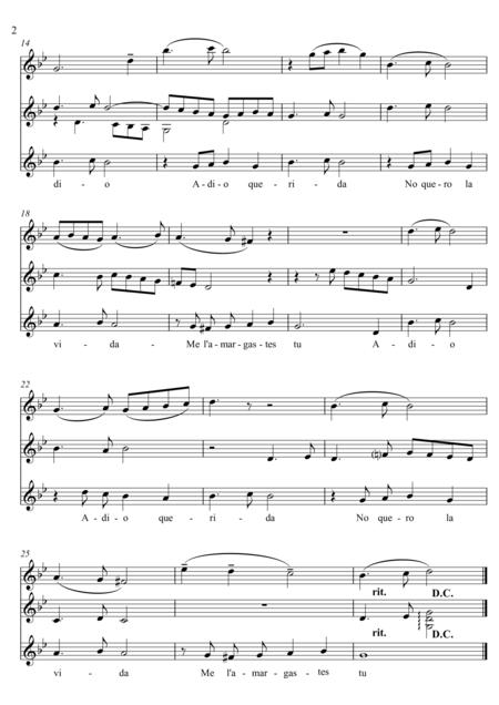 Sefardi song, Adio Querida FREE Sheet Music Notes Preview