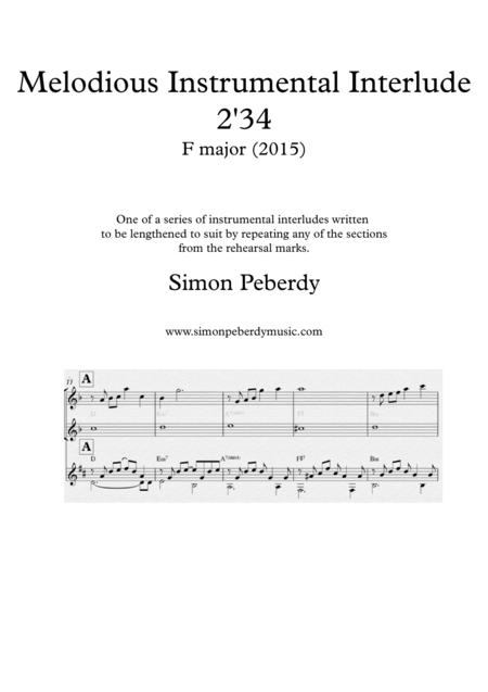 Melodious Instrumental Interlude 2'34 for 2 flutes, guitar and/or piano by Simon Peberdy