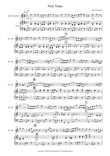 Tasty Tango for Tenor Saxophone and Piano