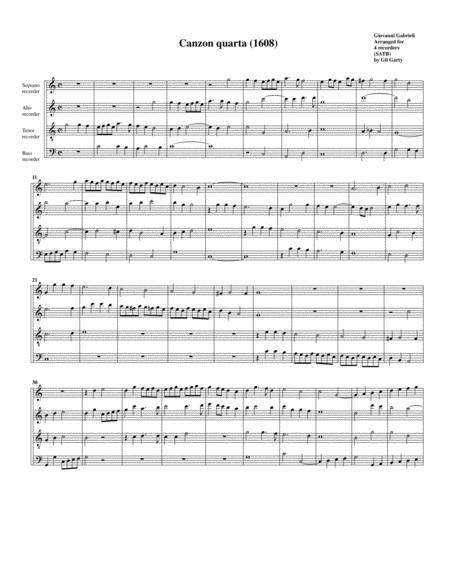 Canzon no.4 a4 (1608) (arrangement for 4 recorders)