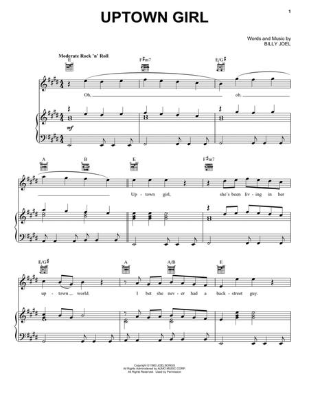 Download Uptown Girl Sheet Music By Billy Joel Sheet Music Plus