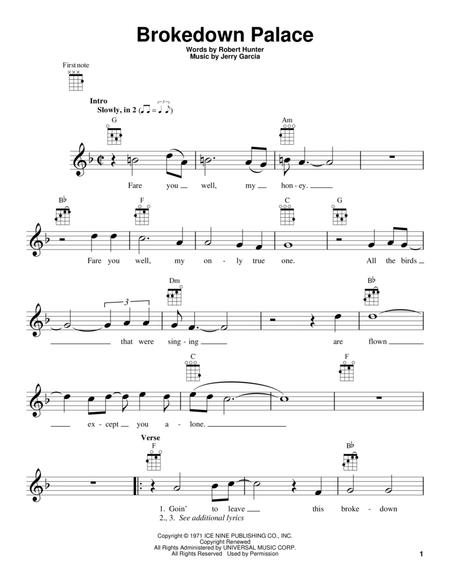 Download Brokedown Palace Sheet Music By The Grateful Dead - Sheet ...