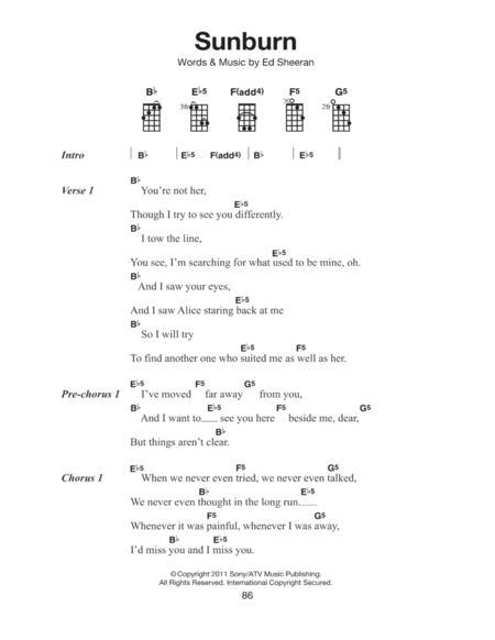 Download Sunburn Sheet Music By Ed Sheeran - Sheet Music Plus