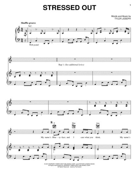 Download Stressed Out Sheet Music By Twenty One Pilots Sheet Music