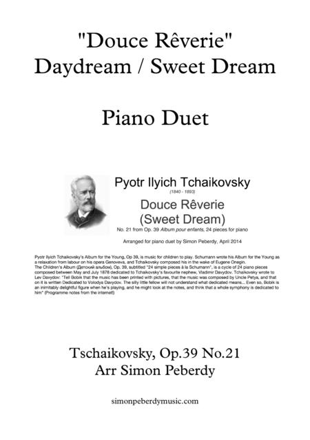 Sweet Dream / Douce Rêverie for Piano Duet (Tchaikovsky arr. Simon Peberdy)