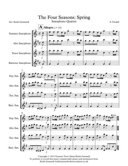 The Four Seasons - Spring: Saxophone Quartet