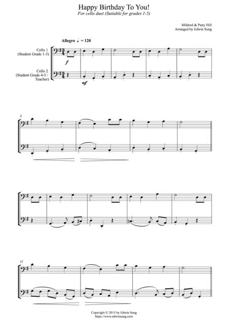 Happy Birthday To You! (for cello duet, suitable for grades 1-5)