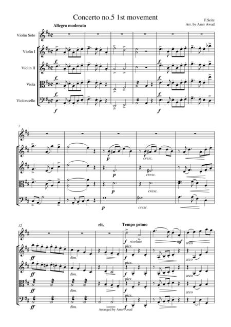 Seitz 1st movement from Pupil (Student) Concerto No.5 in D major for Violin and Piano arranged for Violin and String Orchestra