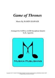 Game of Thrones - for Saxophone Quartet