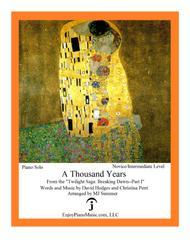 A Thousand Years - Christina Perri, Intermediate Level for Piano Solo
