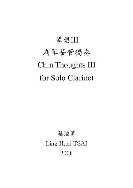 Chin Thoughts III for Solo Clarinet