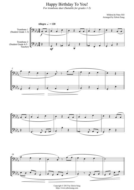 Happy Birthday To You! (for trombone duet (bass clef) duet, suitable for grades 1-5)