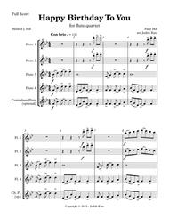 Download Happy Birthday To You - For Flute Quartet Sheet Music By