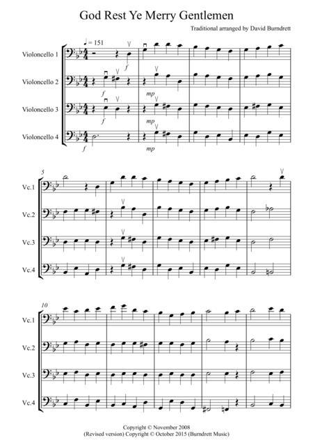 God Rest Ye Merry Gentlemen for Cello Quartet