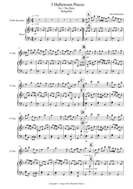 3 Halloween Pieces for Treble Recorder and Piano