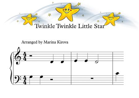 Twinkle Twinkle Little Star Nursery song Piano arrangement with big notes, pictures and landscape format - beginners children read it easily
