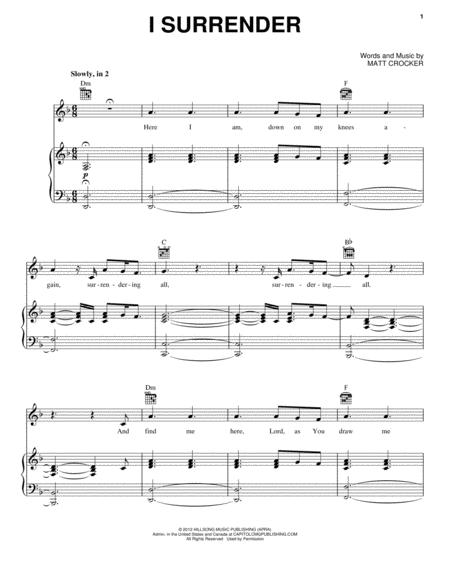 Download I Surrender Sheet Music By Hillsong Live - Sheet Music Plus