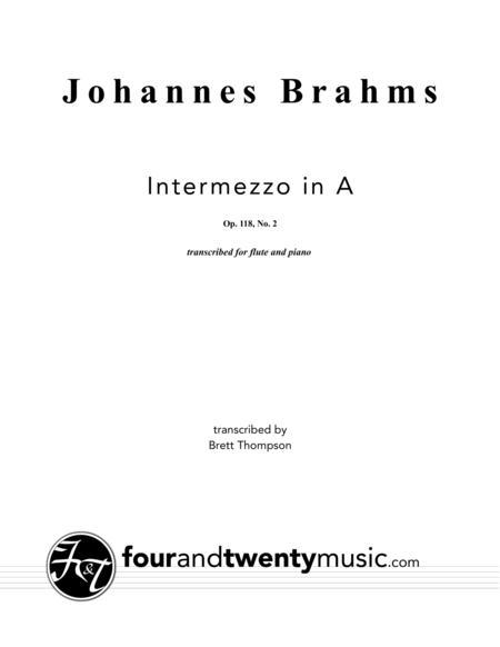 Intermezzo in A, opus 118 no 2 arranged for flute and piano