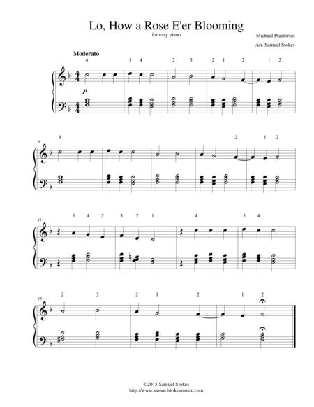Lo, How a Rose E'er Blooming - for easy piano