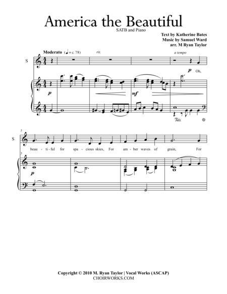 America the Beautiful : SATB Choir and Piano