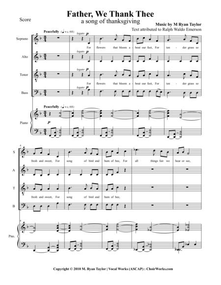 Father, We Thank Thee : SATB and Piano