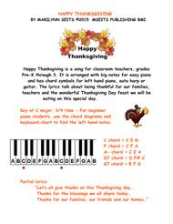 Happy Thanksgiving - easy piano version w/ lyrics for children
