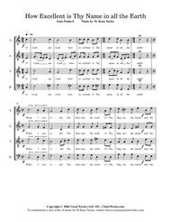 How Excellent is Thy Name in All the Earth (Psalm 8) : SATB Acapella