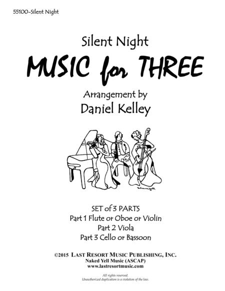Silent Night for String Trio (Violin, Viola, Cello) Set of 3 Parts