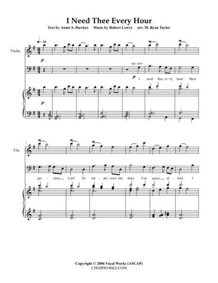 I Need Thee Every Hour : SATB Choir, Piano and Violin
