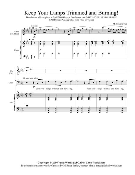 Keep Your Lamps Trimmed and Burning : SATB, Piano and Oboe (or Flute or Violin)