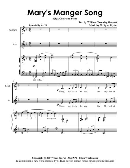 Mary's Manger Song : SSA or SA Choir with Piano