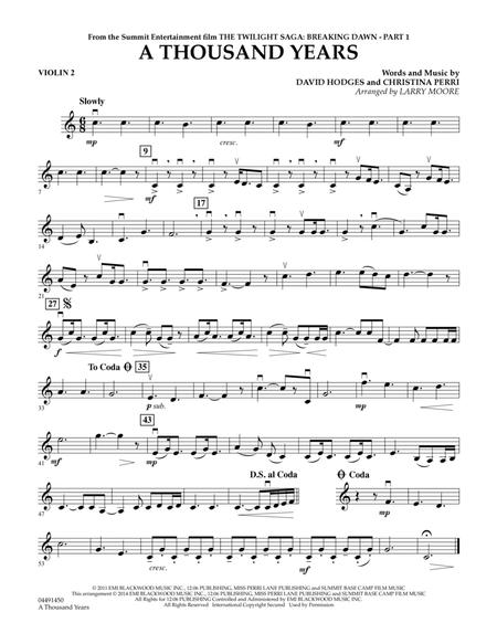 Download A Thousand Years Violin 2 Sheet Music By David Hodges