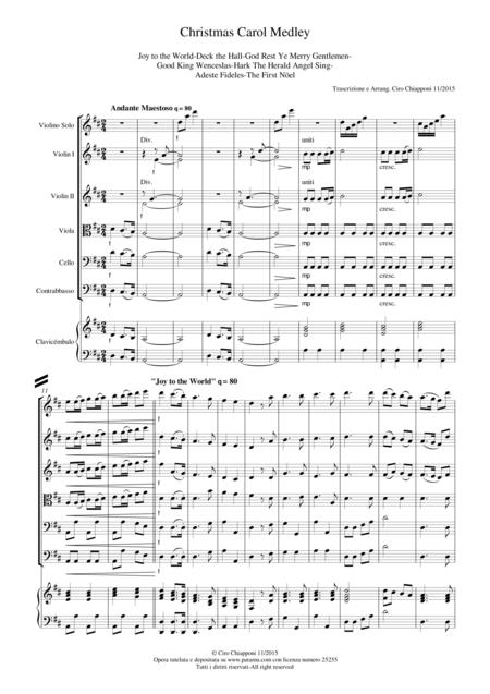 Christmas Carol Medley for Chamber Orchestra with Violin Solo Full Score  and Parts 430a6ee62fa