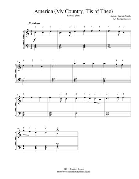 America (My Country, 'Tis of Thee) - for easy piano