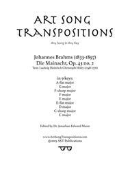 Die Mainacht, Op. 43 no. 2 (in 9 keys: A-flat, G, F-sharp, F, E, E-flat, D, C-sharp, C major)