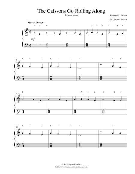 The Caissons Go Rolling Along (The Army Goes Rolling Along) - for easy piano