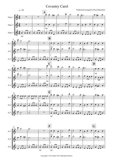 Coventry Carol for Flute Trio