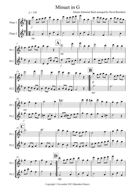 Minuet in G by Bach for Flute Duet