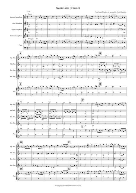 Swan Lake Theme for Saxophone Quartet