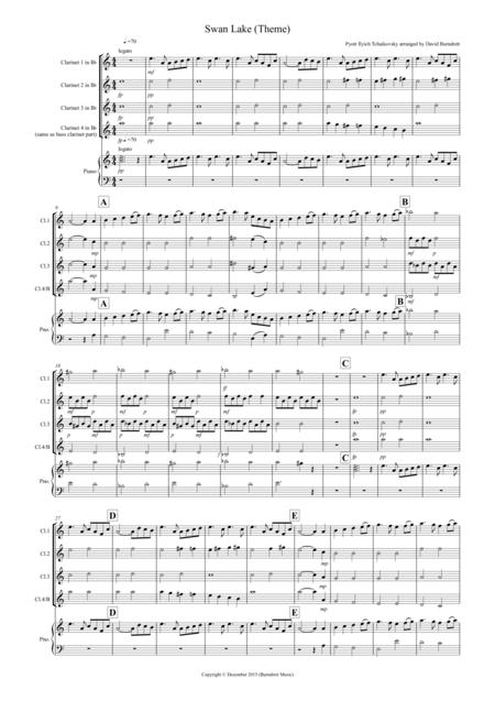 Swan Lake Theme for Clarinet Quartet