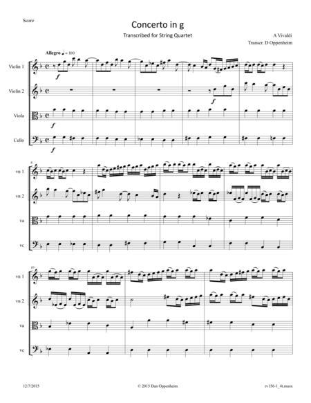 Vivaldi: Concerto in G minor RV 156 movement I arranged for String Quartet