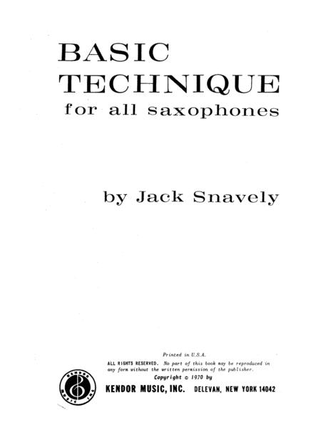 Basic Technique For All Saxophones