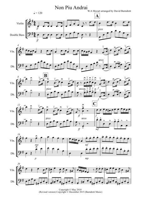 Non Più Andrai for Violin and Double Bass