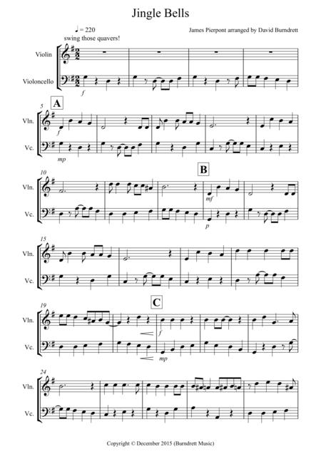 Jingle Bells (Jazzy Style!) for Violin and Cello Duet