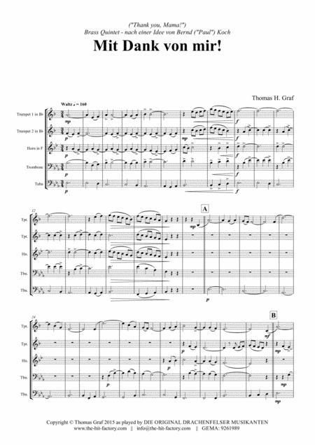 Mit Dank von mir - German Waltz - Oktoberfest - Brass Quintet