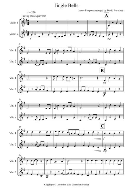 Jingle Bells (Jazzy Style!) for Violin Duet